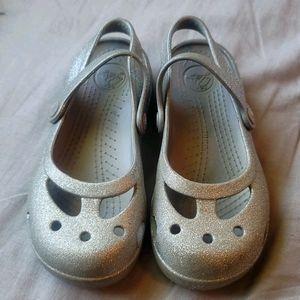 Girls Crocs Mary Jane Style Silver Glitter Sz. 12
